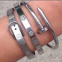 Silver Stainless Steel Fashion Nail Bracelet