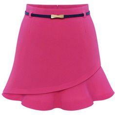 Flounce-Hem Plain A-Line Mini Skirt (64 BRL) ❤ liked on Polyvore featuring skirts, mini skirts, print mini skirt, patterned skirts, floral print a-line skirt, short a line skirt and short mini skirts
