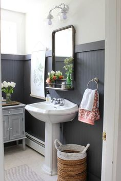 Bathroom Makeover Reveal - Rooms For Rent blog. Love the dark grey bead board.