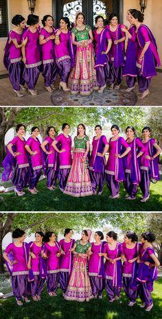 vibrant salwar kameez in violet and hot pink Indian Bridesmaid Dresses, Bridesmaid Saree, Desi Wedding Dresses, Bridesmaid Outfit, Brides And Bridesmaids, Indian Dresses, Pakistan Wedding, Wedding Couple Poses, Wedding Photography Poses