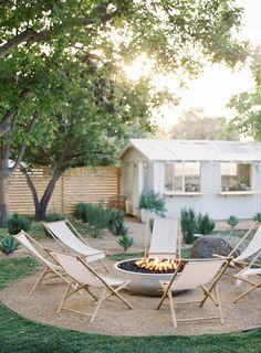 Fire Pit And Lounge Chairs At Bodega Los Alamos Coco Kelley Backyard Patio, Backyard Landscaping, Modern Backyard, Outdoor Fire, Outdoor Living, Types Of Fire, Outdoor Spaces, Outdoor Decor, Outdoor Planters