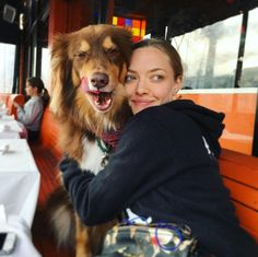Amanda Seyfried and Finn  // Seyfried's Instagram is basically covered in adorable photos with her best friend - her Australian Shepherd, Finn who she rescued from Best Friends Animal Society.