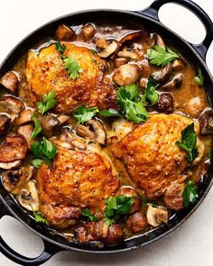 Braised Chicken with Mushrooms, Bacon and Herbs — The Daley Plate - Braised Chicken with Mushrooms, Bacon and Herbs — The Daley Plate Chicken Braised Chicken with Mushrooms, Bacon and Herbs — The Daley Plate - Yummy Chicken Recipes, Chicken Thigh Recipes, Yum Yum Chicken, Turkey Recipes, Dinner Recipes, Duck Recipes, Dinner Entrees, Yummy Recipes, Yummy Food