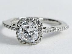 Cushion Cut Halo Diamond Engagement Ring in Platinum