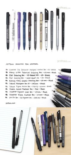 The JetPens Drawing Pen Sampler is a collection of fine-tipped drawing pens for sketches, comics, illustrations, notes, and much more.