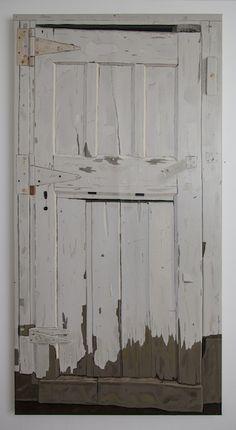 Josephine Halvorson, Woodshed (Door) (2013, 70 x 35, oil on linen) + article