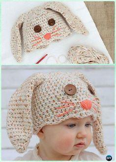 DIY Crochet Bunny Baby Hat Free Pattern Instruction-Crochet Beanie Hat Free Patterns