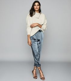 Find the most up-to-date trends for this season in our collection of new arrivals. Refresh your wardrobe with the latest styles and shop now. Mode Outfits, Trendy Outfits, Fashion Outfits, Women's Fashion, Fashion Trends, Satin Trousers, Trousers Women, Tailored Trousers, Trouser Outfits