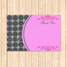 Pink and Grey Polka Dot Thank You Card Instant Download by CutiePatootieRoomie – Can be personalized for  any event , 300 DPI print quality can be printed at home or any copy center.  Visit https://www.etsy.com/shop/CutiePatootieRoomie  to view this adorable invite and others!