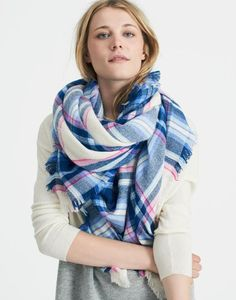 Heyford Cream Check Scarf , Size One Size | Joules UK