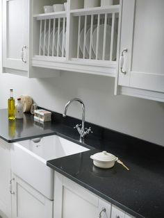 Black quartz work tops for the kitchen