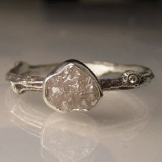 Raw Diamond Twig Ring in Recycled Sterling Silver , Engagement Ring