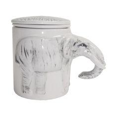Ceramic Elephant Tea Cup Mug w/ Infuser & Cover