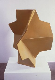 "John Mason [Spain/USA] {b 1927} ~ ""Folded Cross Yellow Gold"", 2002. Ceramic. 
