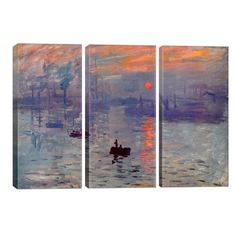 'Sunrise Impression' by Claude Monet Painting Multi-Piece Image on Wrapped Canvas Beachcrest Home Size: cm H x cm W x cm D Monet Paintings, Watercolor Paintings Abstract, Watercolor Artists, Landscape Paintings, Abstract Oil, Canvas Artwork, Canvas Wall Art, Acrylic Painting Lessons, Painting Art