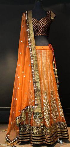 Shyamal & Bhumika Lengha, light orange lengha for a bride, south asian bridal attire