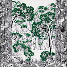 "GABRIELLE'S AMAZING FANTASY CLOSET    Hermes    Green/White/Black Silk Twill Scarf, Hand Rolled, 36"""