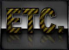 Grunge Yellow Warning Striped Icon & Text Effect