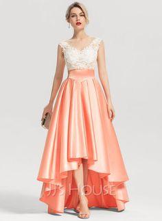 A-Line Scoop Neck Asymmetrical Satin Evening Dress With Beading (017153618) - JJ's House Stylish Dresses, Elegant Dresses, Beautiful Dresses, Fashion Dresses, Fashion Fashion, Lace Evening Dresses, Prom Dresses, Formal Dresses, Spring Dresses