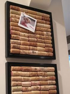 A personal pinboard with an old frame & some saved wine corks from our favourite restaurant.