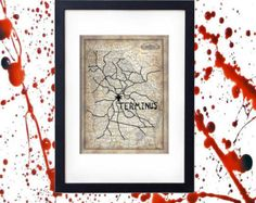 AMC's The Walking Dead TERMINUS Map Vintage Design Zombie Apocalypse Collector's Poster