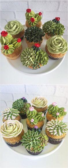 🎂 Succulent Cupcakes by Leslie Vigil ( Cupcake Icing, Cupcake Cookies, Wilton Cupcakes, Creative Cakes, Creative Food, Cupcake Arrangements, Succulent Cupcakes, Cake Decorating Tips, Mini Cakes
