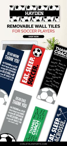 Add some soccer home decor easily to any room with these exclusive Soccer Room Signs! They make a perfect room gift for a soccer player or an end of the season gift for a soccer coach! You can personalize your custom soccer room sign with your name, number, and/or logo. Soccer Room Decor, Soccer Coaching, Room Signs, Removable Wall, Soccer Players, Number, Logo, Gift, Soccer Training