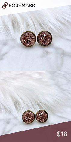 Rose Gold Druzy Earrings Rose gold high quality faux resin druzy stones in 12mm bronze settings • nickel & lead free • handmade in TX Simple Sanctuary Jewelry Earrings