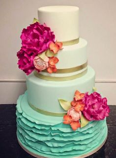 Beautiful turquoise ombre wedding cake with hot pink peonies | http://www.beautiful-bridal.blogspot.com/
