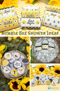 Bzzz.... Bumble Bees make for a cute and timeless baby shower theme that is perfect for girls, boys, and gender unknown babies. Featuring bees with honeycombs, flowers and black accents.