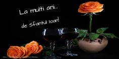 Felicitari de Sfantul Ioan - La multi ani... de Sfantul Ioan! - mesajeurarifelicitari.com La Multi Ani Constantin, Red Wine, Wine Glass, Alcoholic Drinks, Place Cards, Place Card Holders, Tableware, Dinnerware, Tablewares