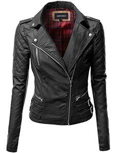 26b0ba3dcac Qulited Sleeve Classic Rider Style Faux Leather Jackets Black ---- Amazon--