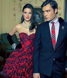 Ed Westwick as Chuck and Leighton Meester as Blair from Gossip Girl - TV's best dressed couple!