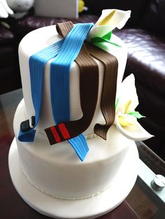 Brazilian JuJitsu & Jujitsu belts on the latest Groom's Cake. #Kataaro
