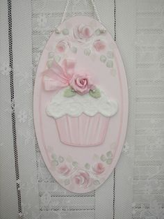 pink shabby clay roses wood Cupcake Wall Sign Plague