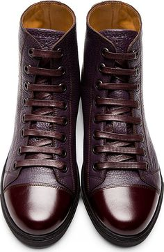 Marc Jacobs Plum Grained Leather High-Top Sneakers! www.kerlagons.com