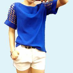 Feminine Blouse 2015 Fashion Plus Size Women Tops Blouses Summer Women's Hollow Short-sleeve Shirts Chiffon Tops XXL XXXL