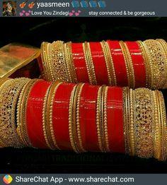 hajra ❤❤❤love this bridal chura😘😍😍 Bridal Bangles, Bridal Jewelry, Gold Jewelry, Jewelery, Luxury Jewelry, Jewelry Box, Chuda Bangles, Wedding Chura, Wedding Bride