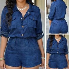 Ofenbuy Women Fahsion Half Sleeve Jeans Jumpsuit Bodysuit Shorts Romper Playsuit ** You can find more details by visiting the image link. Denim Attire, Denim Outfit, Jean Dress Outfits, Modern African Clothing, Look Con Short, Cool Outfits, Casual Outfits, African Wear Dresses, Looks Plus Size
