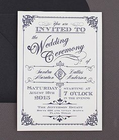 Best Seller - Ornate Vintage Type Invitation