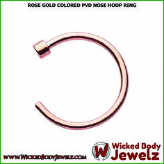 Rose Gold Colored PVD Nose Hoop Ring - 20 GA (0.8mm) - Sold as a Pair  https://wickedbodyjewelz.com/collections/hoop-nose-rings/products/bz01-nr-184-20    #RoseGoldNoseHoopRing #WickedBodyJewelz