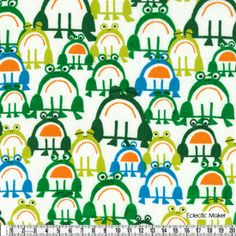 Ed Emberley Happy Drawing Frogs Ed Emberley Happy Drawing Frogs fabric for patchwork quilting and dressmaking from Eclectic Maker [EE-Frogs]...
