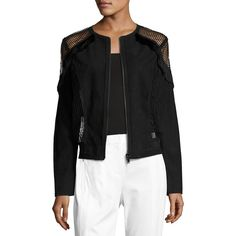 Elie Tahari Calandra Lace-Panel Suede Bomber Jacket ($998) ❤ liked on Polyvore featuring outerwear, jackets, black, women's apparel jackets, blouson jacket, bomber jacket, flight jacket, bomber style jacket and polka dot jacket