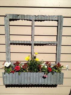 Corrugated tin flower boxes