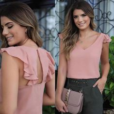 Swans Style is the top online fashion store for women. Blouse Styles, Blouse Designs, Sewing Blouses, Mode Top, Mode Chic, Trendy Tops, Ideias Fashion, Fashion Dresses, Cute Outfits