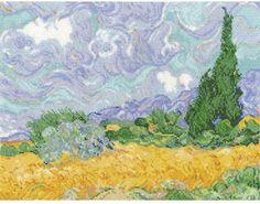 Van Gogh's A Wheatfield With Cypresses - Cross Stitch Kit DMC