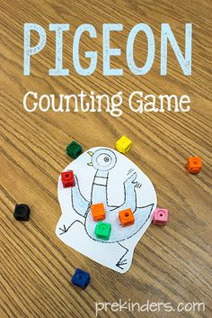Here's a simple math game you can use as a book-tivity with any of the Pigeon books by Mo Willems. The newest Pigeon book was released today, April Preschool Literacy, Preschool Books, Kindergarten Math, Book Activities, Sequencing Activities, Preschool Crafts, Pigeon Books, Library Lessons, Art Lessons