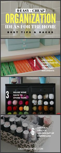 9 BRILLIANT Organization Ideas For The Home. If you're like me and constantly looking for cheap and easy ways to organize your home or pretty diy projects, then these diy ideas are perfect for you! Literally the BEST ways to organize things in your home.