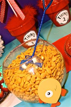 Fishbowl & net for serving Goldfish crackers Bolling With 5: The Cat In The Hat's Party Food