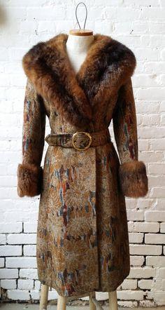 VTG 1960s Tapestry Floral Fur Trimmed Coat